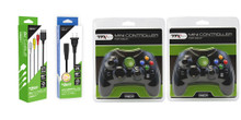Xbox AC Adapter, AV Cable & 2 Black Controller Gamepad Bundle