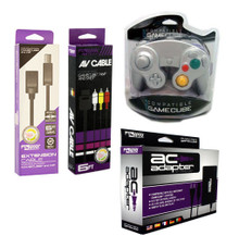 Gamecube AC Adapter, AV Cable, Extension Cable & 1 Platinum Controller