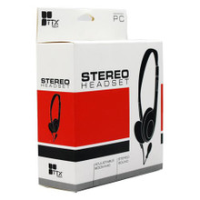 PC USB Stereo Wired Headset w/ Boom Mic - Small Black (TTX Tech)