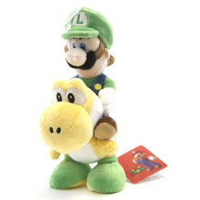 "Luigi Riding Yoshi - Super Mario Bros 8"" Plush (San-Ei) 1255"