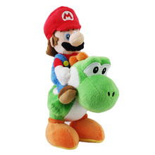 "Mario Riding Yoshi - Super Mario Bros 8"" Plush (San-Ei) 1241"