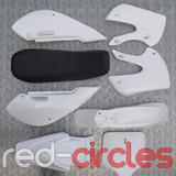 KLX STYLE PITBIKE PLASTICS SET - WHITE (WITH SEAT)