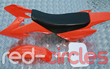 CRF50 STYLE PITBIKE PLASTIC SET - ORANGE (WITH SEAT PAD)