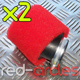 2x 45mm ANGLED PIT BIKE FOAM FILTER - RED