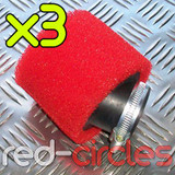 3x 45mm ANGLED PIT BIKE FOAM FILTER - RED