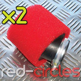 2x 35mm ANGLED PITBIKE / ATV FOAM AIR FILTER - RED