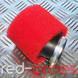 35mm ANGLED PITBIKE / ATV FOAM AIR FILTER - RED