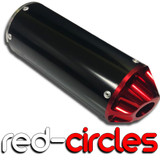 RED SCALLOPED PIT BIKE CNC EXHAUST SILENCER