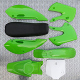KLX STYLE PITBIKE PLASTICS SET - GREEN (WITH SEAT)