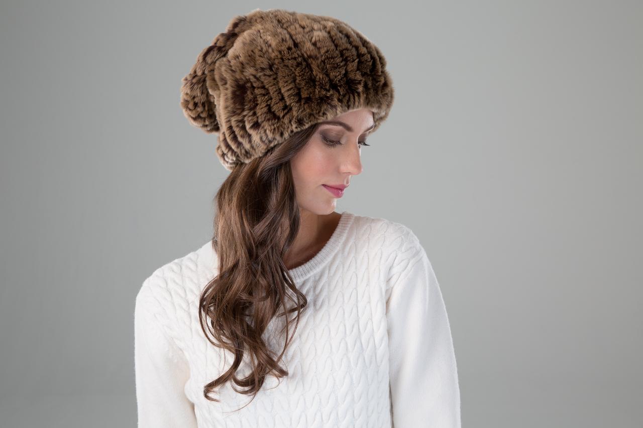 81a2fdb3cc7 Rex Rabbit Textile Knit Slouch Hat in Golden Brown. Black Frost Detail.  Black Detail. prev