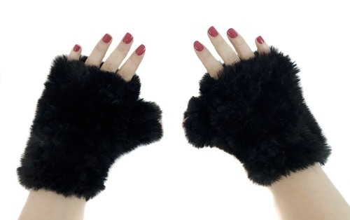 faux fur knit texting mittens in black