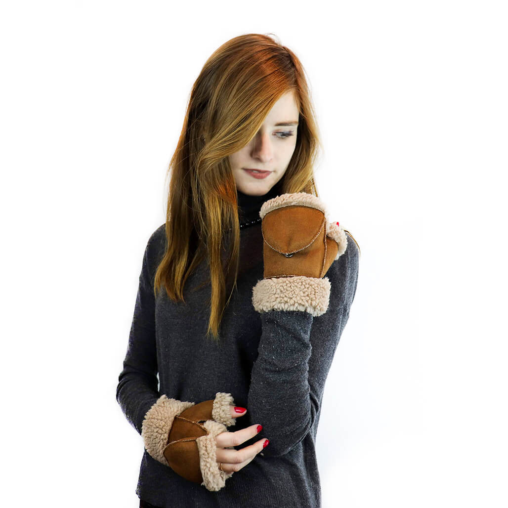 Faux Sherpa Fliptop Gloves in Chestnut/Beige