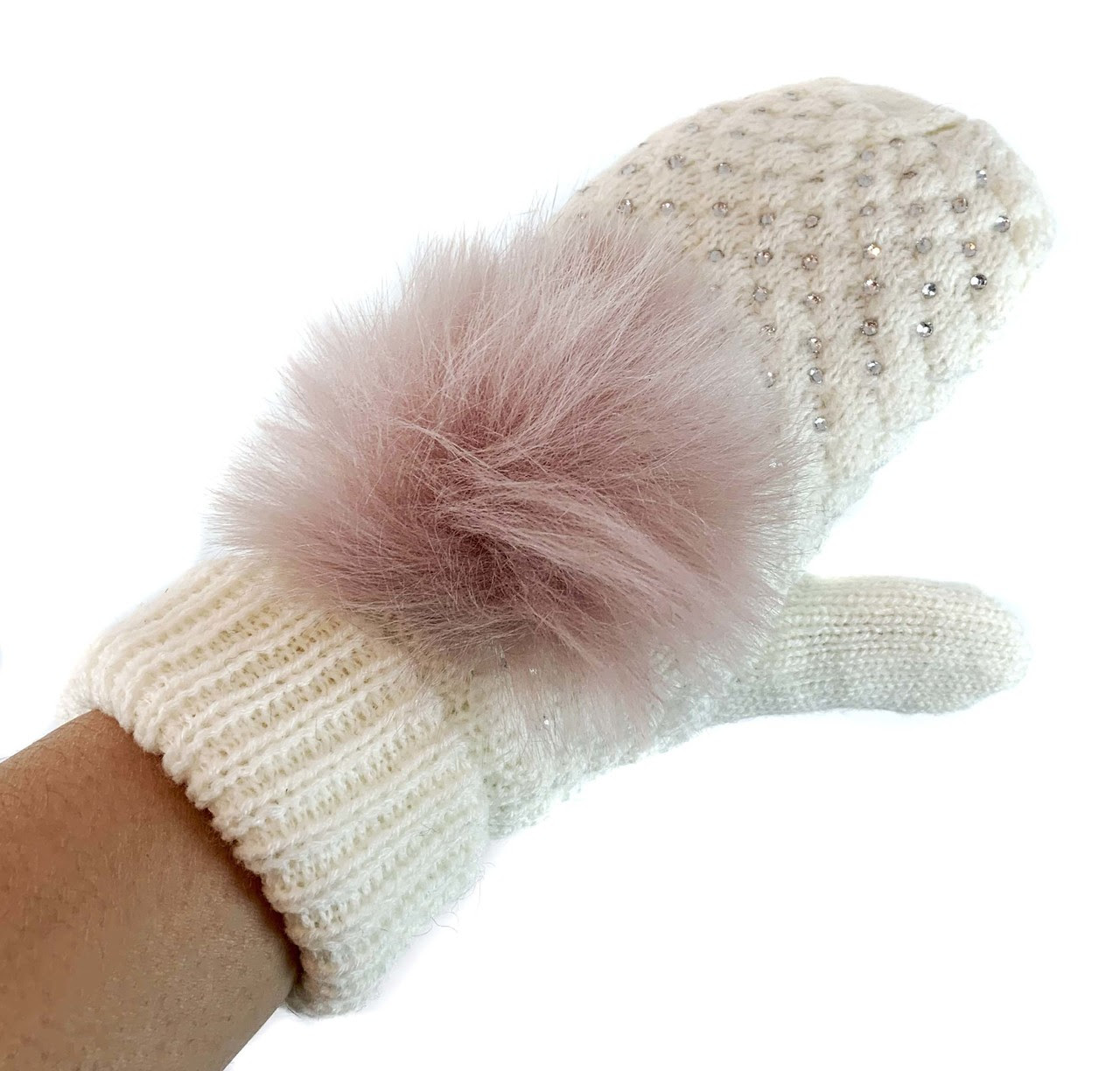 Knit Mitten with Rhinestone and Faux Fox Fur Pom