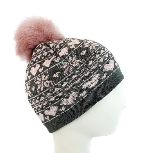 Surell Accessories knit snowflake & heart beanie with a faux fox fur pom for kids