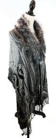 "Size: One Size – 77.5"" long, 21"" wide Color: Grey Paisley Details: Paisley Printed Wrap w/ Faux Fur Trim, with a hook and eye closure, fringed ends.  Dry clean only.   100% Acrylic"