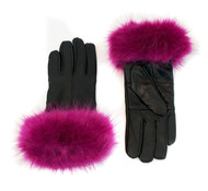 Leather Gloves with Faux Fox Cuff Black/Fuchsia
