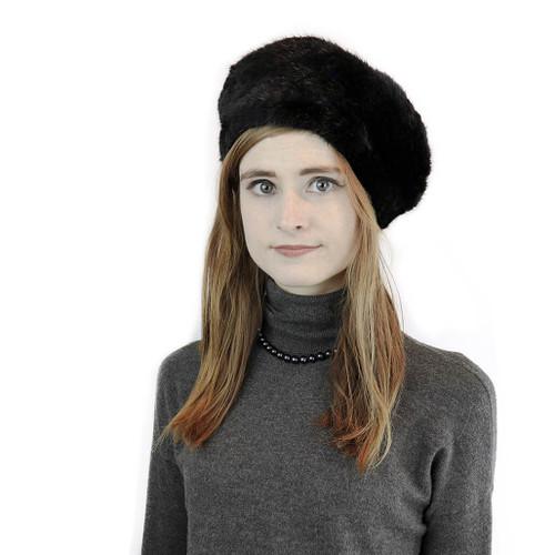 Black Mink Spiral Knit beret on model