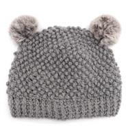 Children's Minnie Popcorn Stitch Beanie with Rabbit Poms Grey/Chin