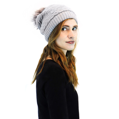 Grey Ruched Knit Slouch Beanie with Blue Frost Fox Pom