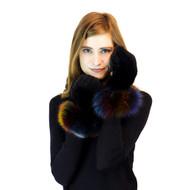 Black Mink Mittens with Fox Multi Cuff