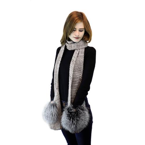 Grey Knit Pocket Scarf with Blue Frost Fox Trim