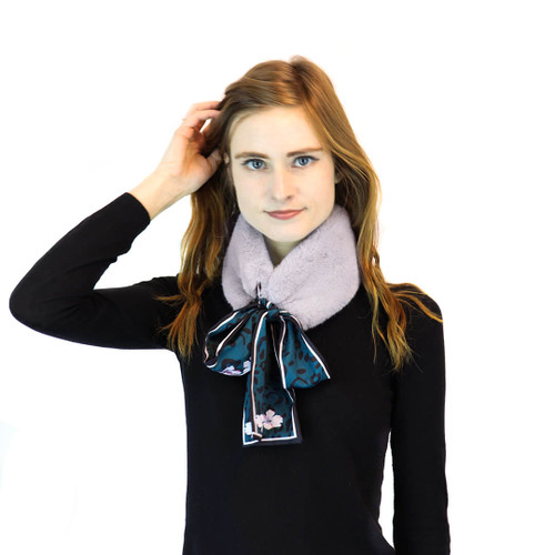 Grey Faux Rex Rabbit Scarf with Floral Print Necktie