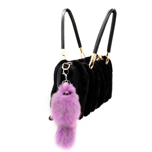 fof fur fox shaped keychain purple on bag