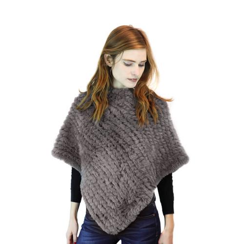 Grey Faux Fur Knit Poncho