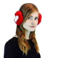 Red Rex Rabbit Fur Heart Earmuffs with Leather Band