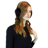 Long Hair Rabbit Fur Earmuff with Leopard Print Band