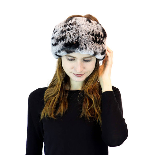 Chinchilla Rex Rabbit Fur Two-In-One Headband/Scarf