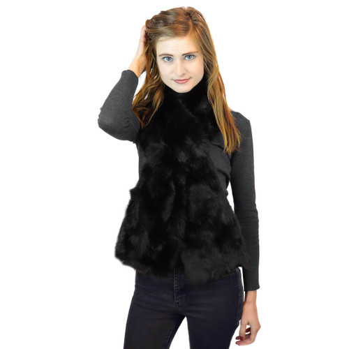 Long Hair Rabbit Fur Oversized Pull-Through black