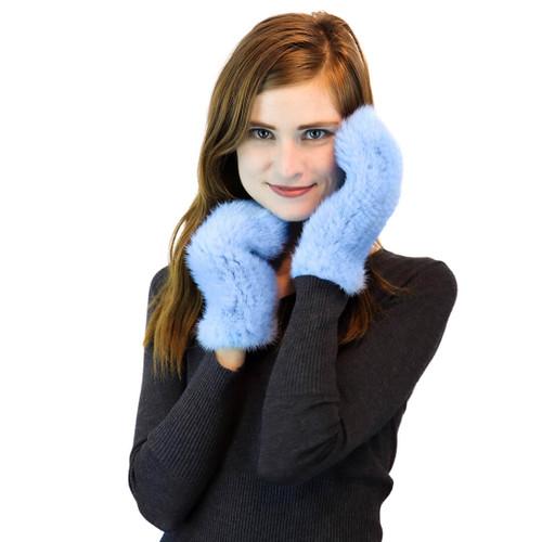 light blue mink fur knit mittens