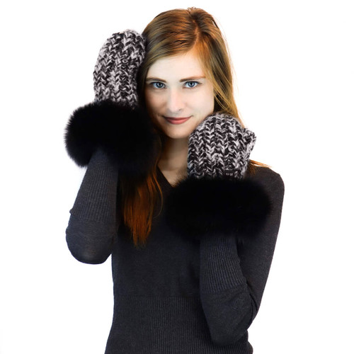 Chunky Knit Mitten with Fox Fur Cuff in Marle Black