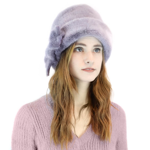 mink cuff hat with bow detail purple frost