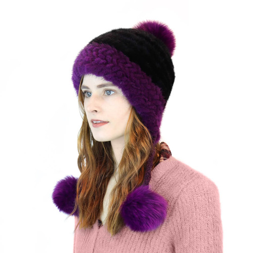 Mink pom hat black and purple