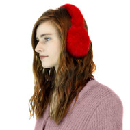 Mink Earmuffs with Halo Band in Red