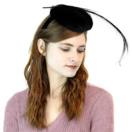 Mink Fascinator in Black