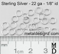 "Sterling Silver Jump Rings 22 Gauge 1/8"" id."