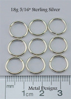 "Sterling Silver Jump Rings 18 Gauge 5/16"" id."