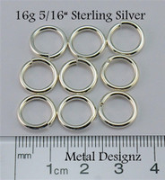 "Sterling Silver Jump Rings 16 Gauge 5/16"" id."