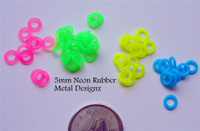 Neon Rubber Jump Rings - 5 mm