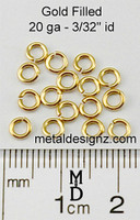 "Gold Fill 20 Gauge 3/32"" id."