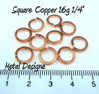 "Square Copper Jump Rings 16 Gauge 1/4"" id."