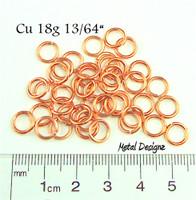 """Copper Jump Rings 18 Gauge 13/64"""" id."""
