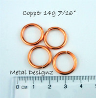 "Copper Jump Rings 14 Gauge 7/16"" id."