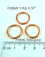 "Copper Jump Rings 14 Gauge 1/2"" id."