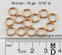 """Bronze Jump Rings 18 Gauge 3/16"""" id."""