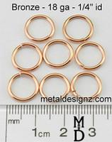 """Bronze Jump Rings 18 Gauge 1/4"""" id."""