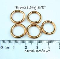 """Bronze Jump Rings 14 Gauge 3/8"""" id."""